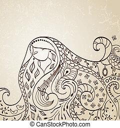 chevelure, vecteur, illustration., long, girl.