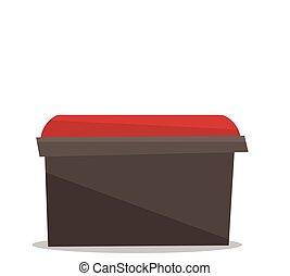 chevet, chaise, vecteur, illustration., rouges