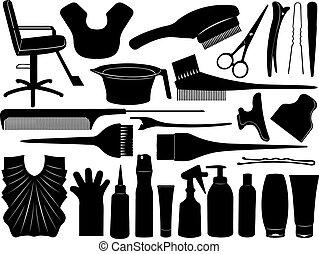 cheveux, équipement, teindre