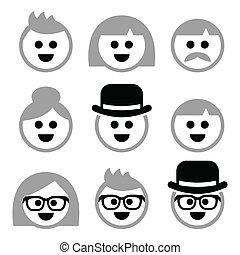cheveux, aînés, vieux, gris, gens