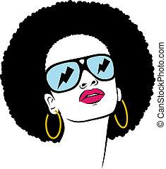 cheveux afro, hippie, femme, sauter art