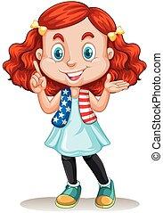 cheveux, américain, girl, rouges
