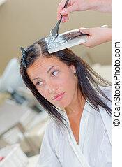 cheveux, application, produit