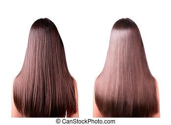 cheveux, après, redresser, avant