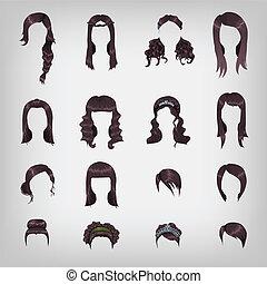 cheveux, assortiment, brunette, femme