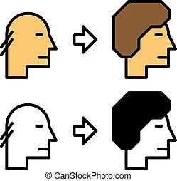 cheveux, avant, après, croissance, icônes