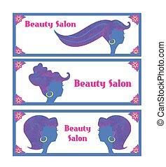 cheveux, banners., salon, créatif