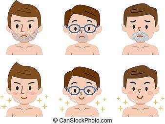 cheveux, barbe, avant, après, déménagement