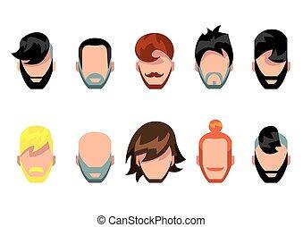 cheveux, barbe, style, ensemble, moustache