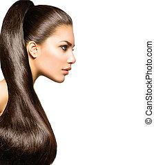 cheveux, beauté, brun, hairstyle., sain, queue cheval, long, directement