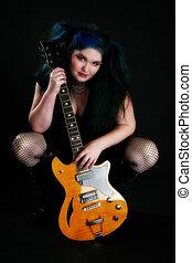 cheveux bleus, guitare, girl