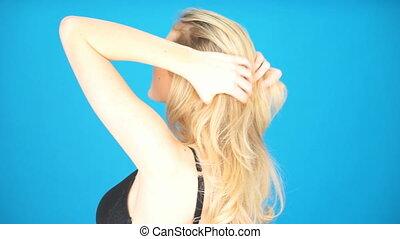 cheveux, blond, femme, jouer, elle