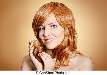 cheveux bouclés, beauté, portrait.