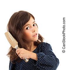 cheveux brossage, petite fille, elle