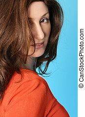 cheveux, brun, auburn, femme, essentiels