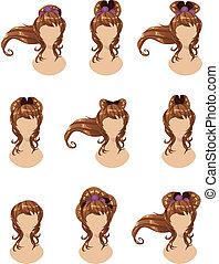 cheveux, brun, différent, styles