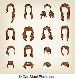 cheveux, brun, ensemble, femme
