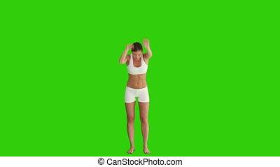 cheveux brun, femme, exercice, vêtements de sport