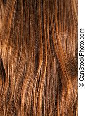 cheveux, brun, femme, |, texture