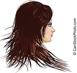 cheveux, brun, girl