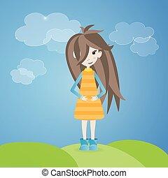cheveux, brun, girl, extérieur