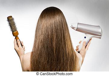 cheveux, brun, long