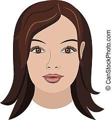 cheveux, brun, objet, long visage