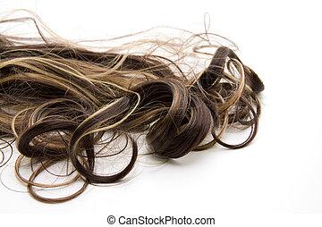 cheveux, brun, serrures