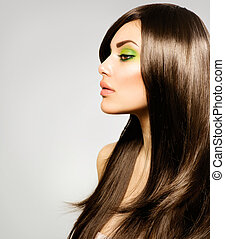 cheveux bruns, girl., brun, sain, long, beau