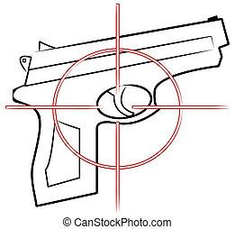cheveux, cible, -, contour, fusil, vecteur, sommet, main, croix