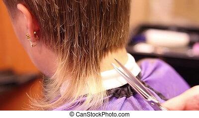 cheveux, ciseaux, découpage
