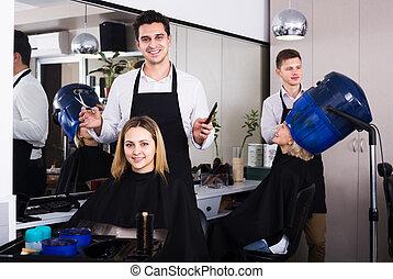 cheveux, coiffeur, salon, coupures