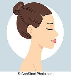 cheveux, coiffure, brioche