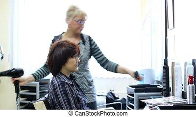 cheveux, coiffure, séchoir, femme, coiffeur