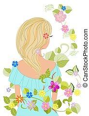 cheveux, conception, blonds, gracieux, girl, fleurs, ton