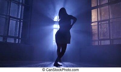 cheveux, contemporain, danse lente, moderne, long, silhouette., mouvement, girl