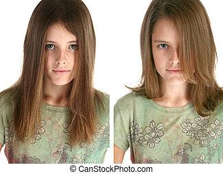 cheveux coupent, après, beafore