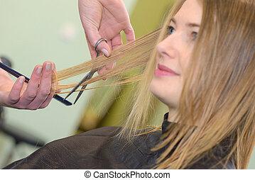 cheveux coupent, dame, avoir, elle