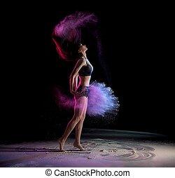 cheveux, danse femme, lancement, jeune, craie, quoique, secousse