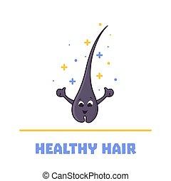 cheveux, dessin animé, caractère, heureux, follicule, sain, ...
