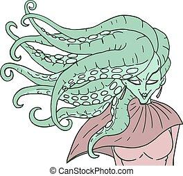 cheveux, dessiner, femme, tentacules