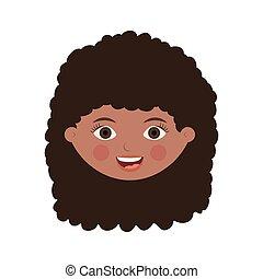 cheveux, devant, ondulé, visage femme