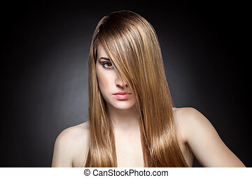 cheveux, directement, femme, long