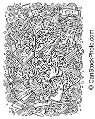 cheveux, doodles, salon, dessin animé, illustration