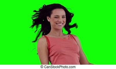 cheveux, elle, flirter, avant, femme, jouer