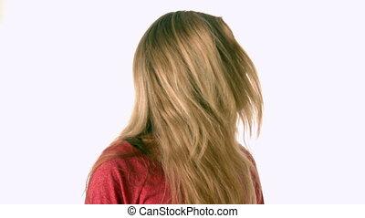 cheveux, elle, joli, lancer, blond