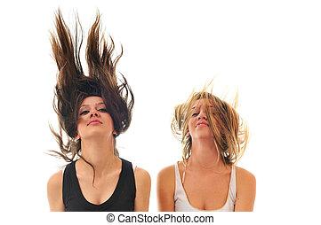 cheveux, fête, femme, isolé, vent