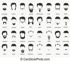 cheveux, faiths, différent, barbes