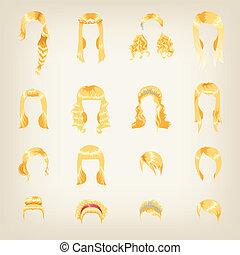 cheveux, femme, assortiment, blonds