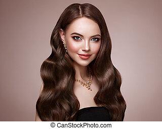 cheveux, femme, brunette, bouclé